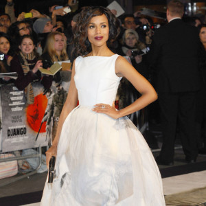 "Once again in white, the beautiful actress doesn't disappoint at the London Premiere of ""Django Unchained""."