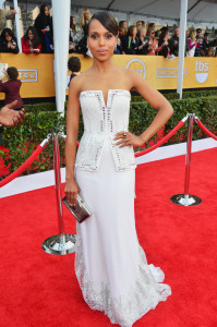 The starlet dazzles in a white Rodarte gown at the 2013 SAG Awards.